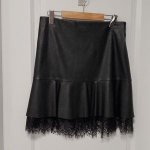 BEBE Faux Leather skirt w lace - Size M